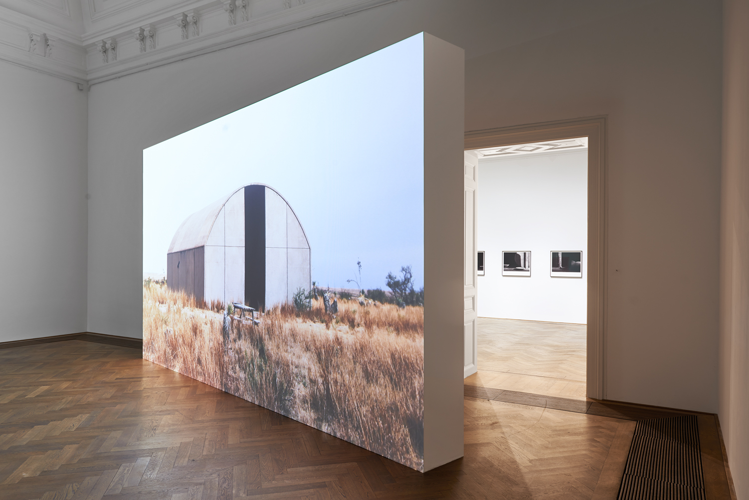 Concrete Buildings, 2013-16, color video, two channels, mute, 73 minutes; 46 minutes (loop) - installation view