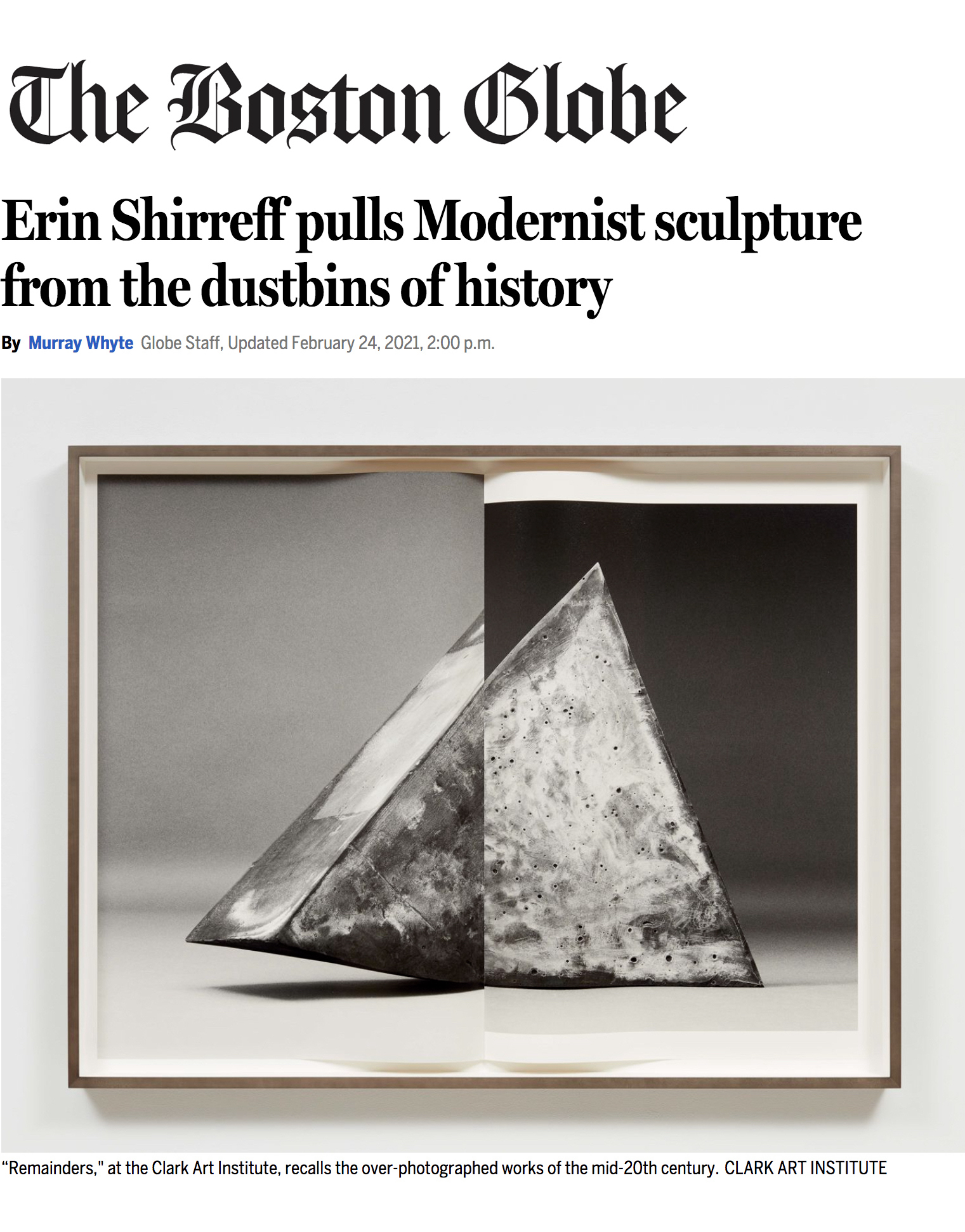 Erin Shirreff's exhibition reviewed in The Boston Globe